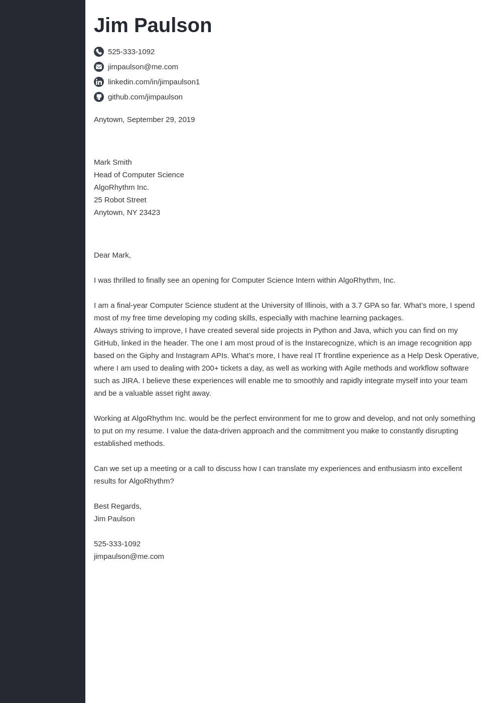 cover letter examples computer science template concept