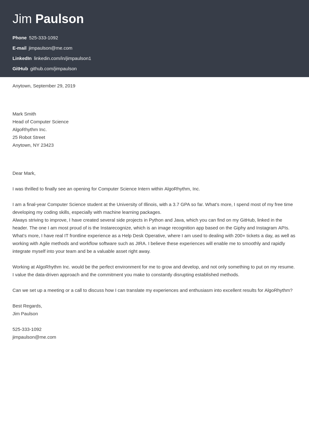 cover letter examples computer science template influx