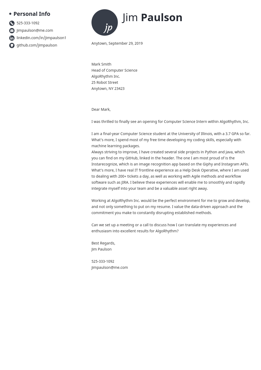 cover letter examples computer science template initials