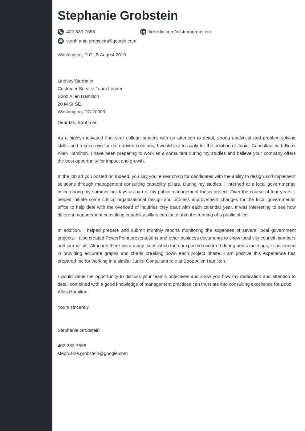 cover letter examples consulting template concept