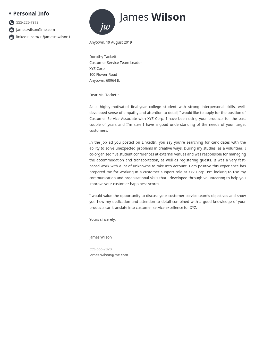 cover letter examples customer service template initials