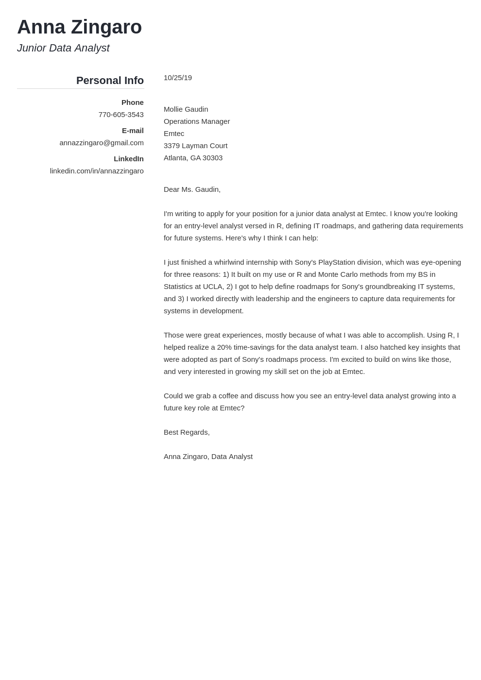 cover letter examples data analyst template simple