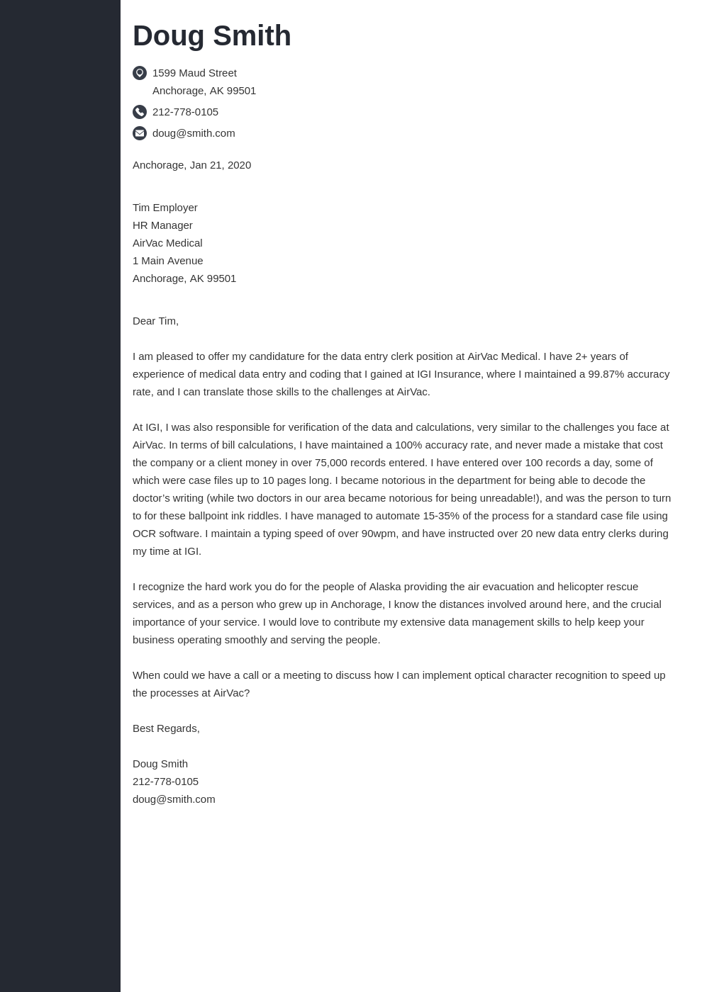 Data Entry Cover Letter Samples Templates To Fill