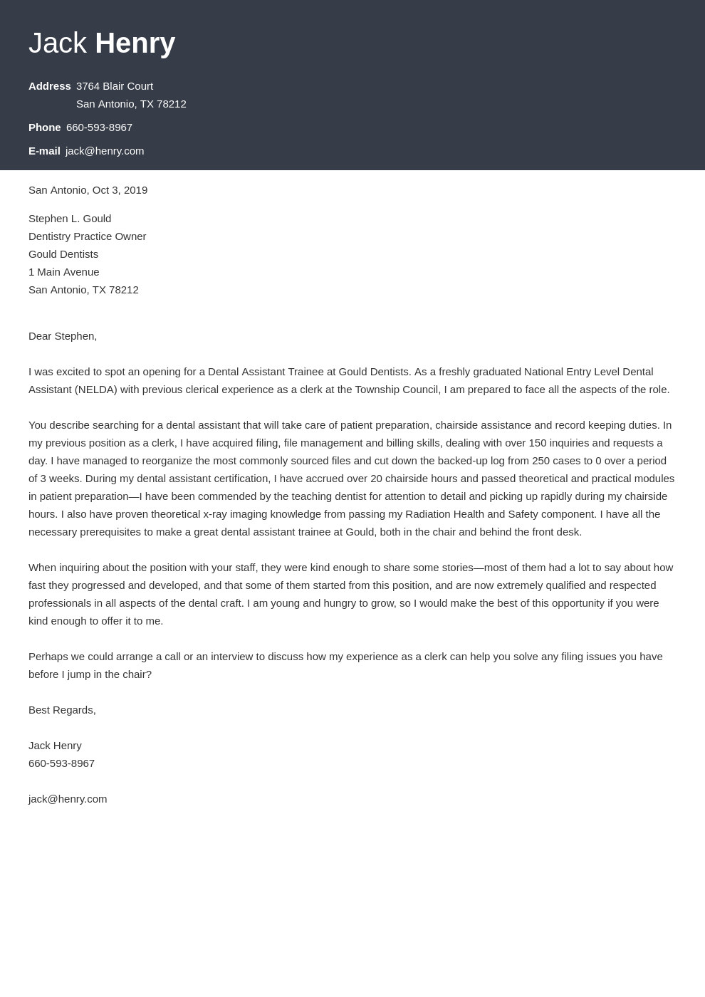 cover letter examples dental assistant template influx