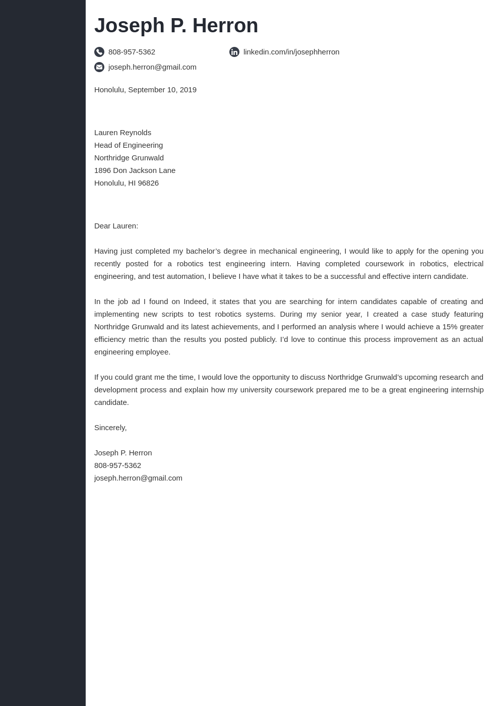 cover letter examples engineering template concept