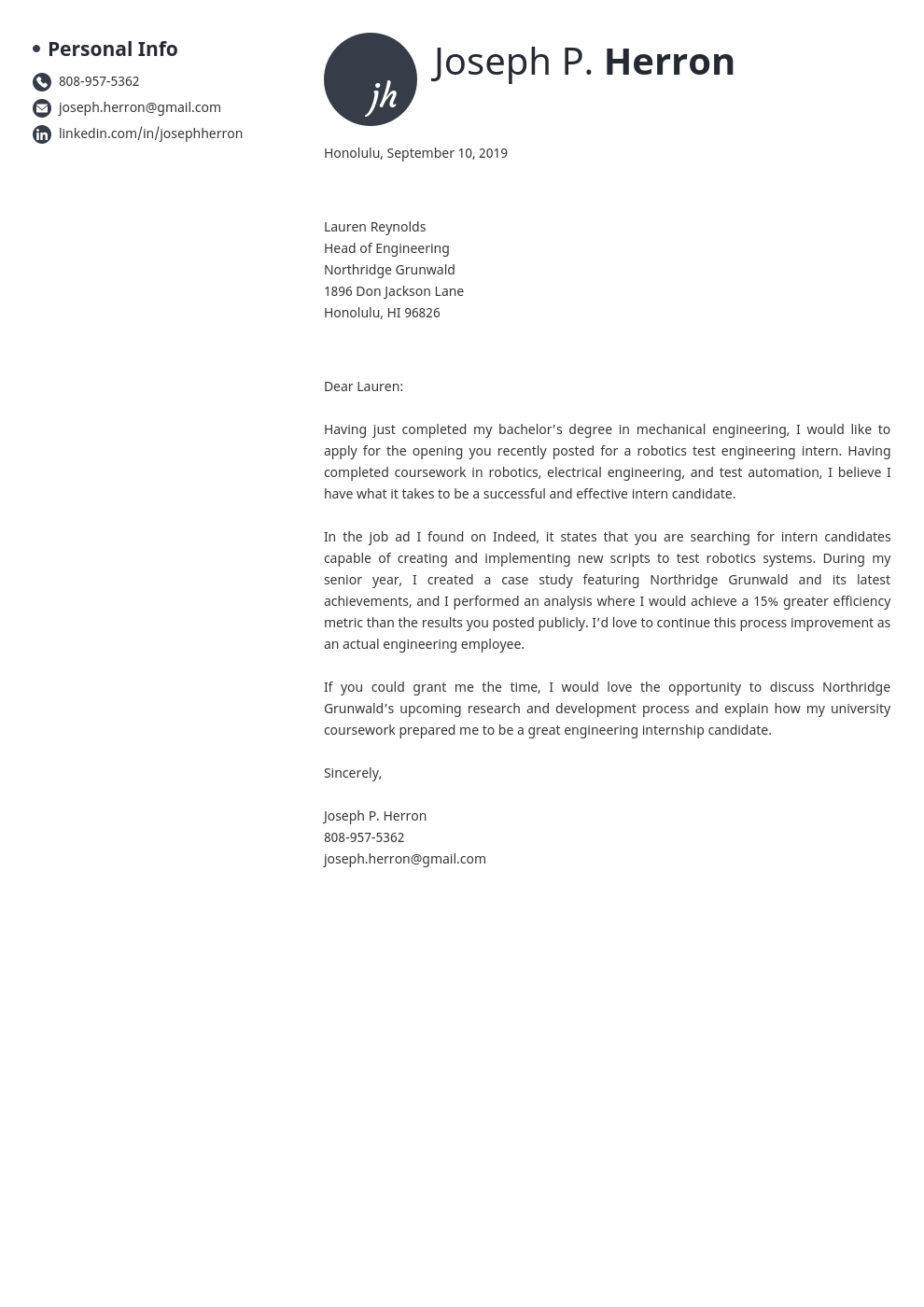 cover letter examples engineering template initials