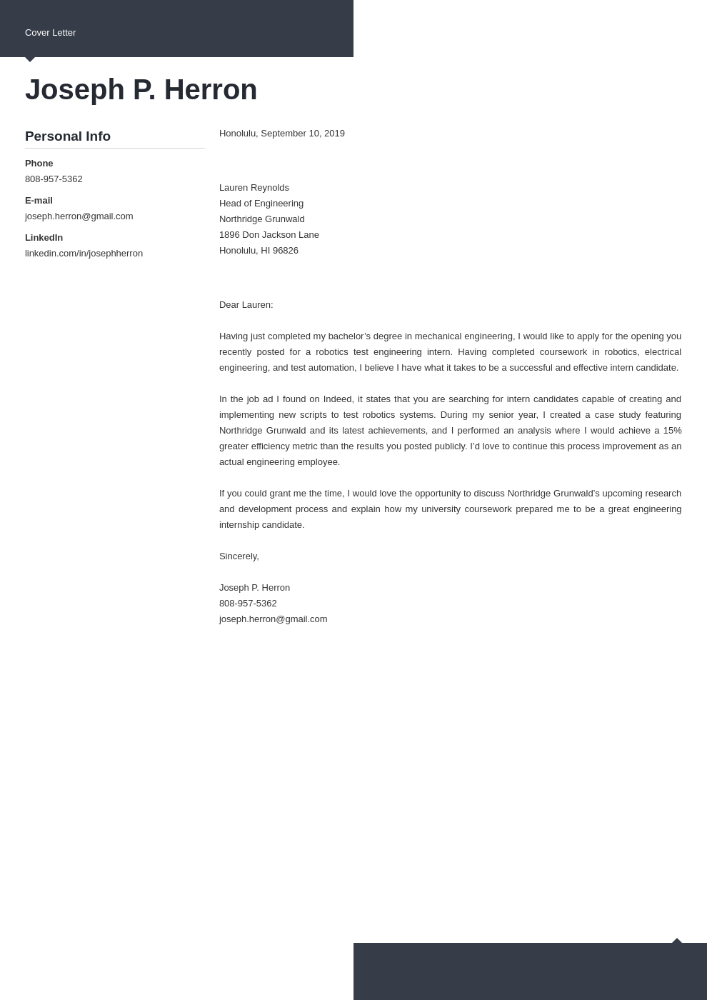cover letter examples engineering template modern