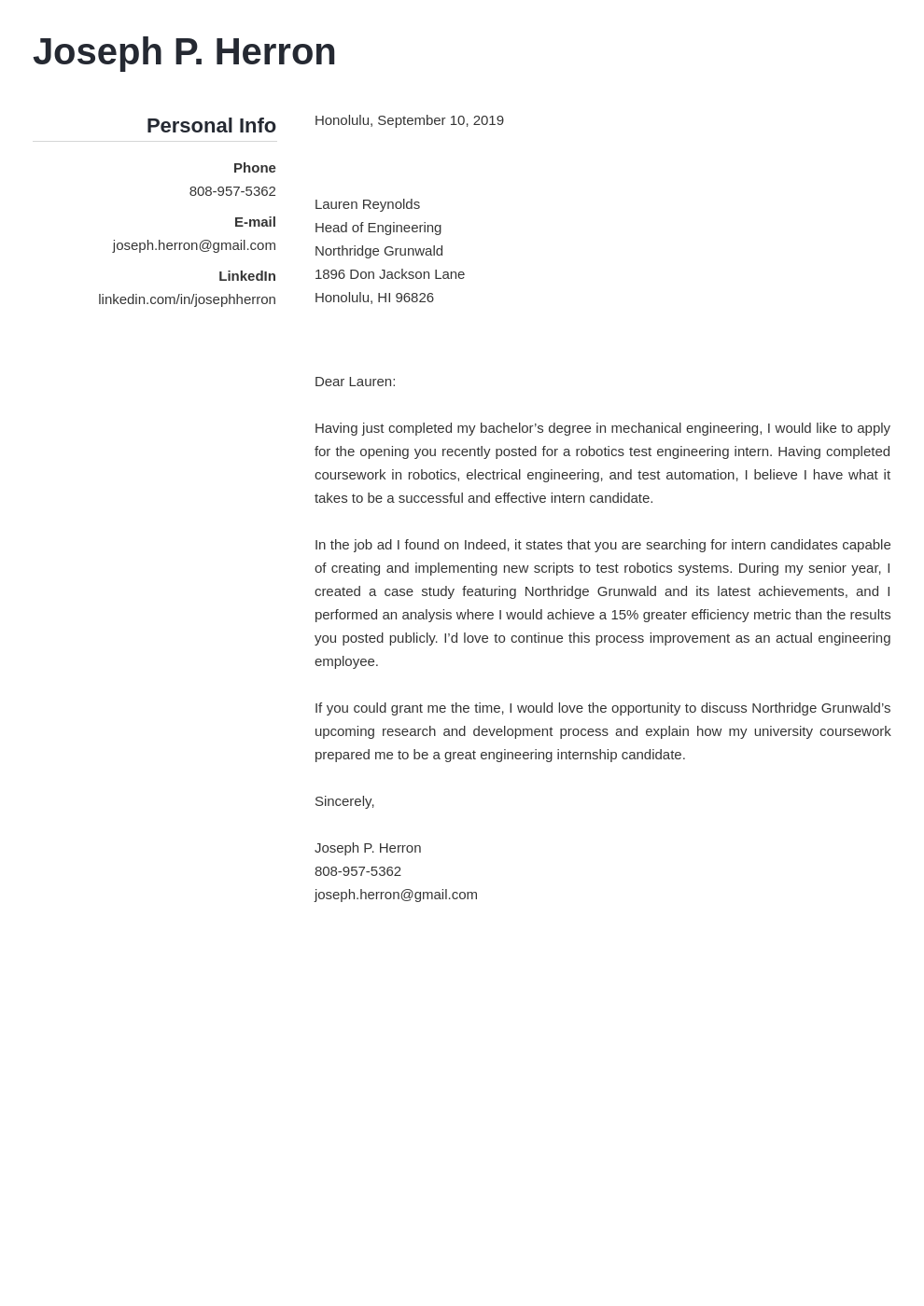 cover letter examples engineering template simple