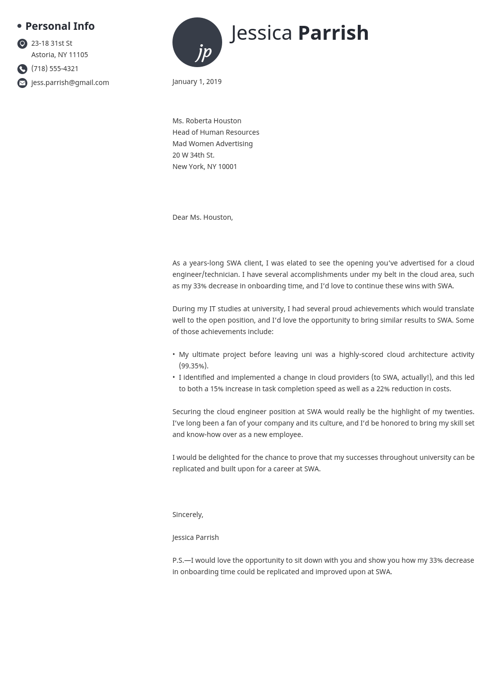 cover letter examples entry level template initials