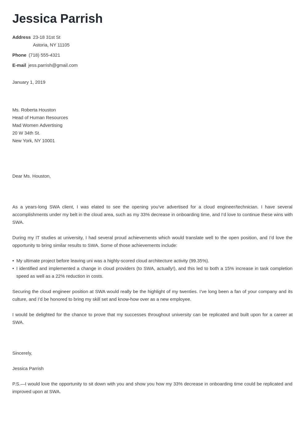 cover letter examples entry level template minimo
