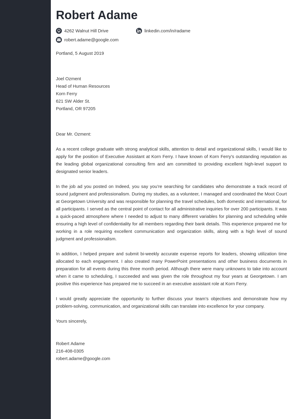 cover letter examples executive assistant template concept