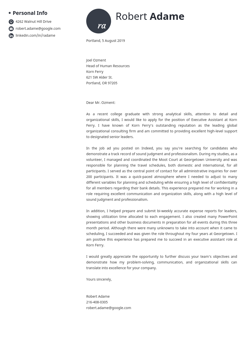 cover letter examples executive assistant template initials