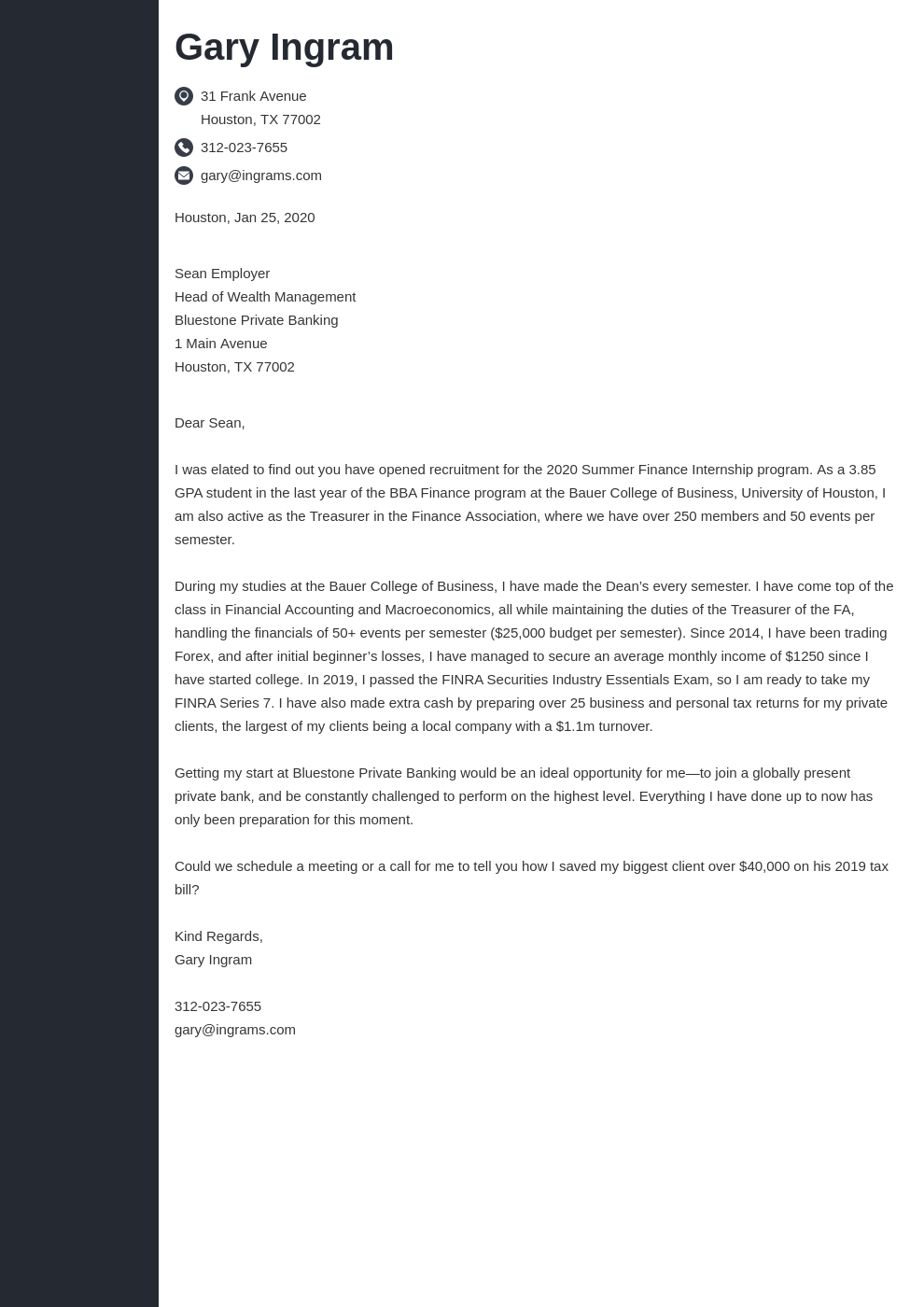 cover letter examples finance template concept