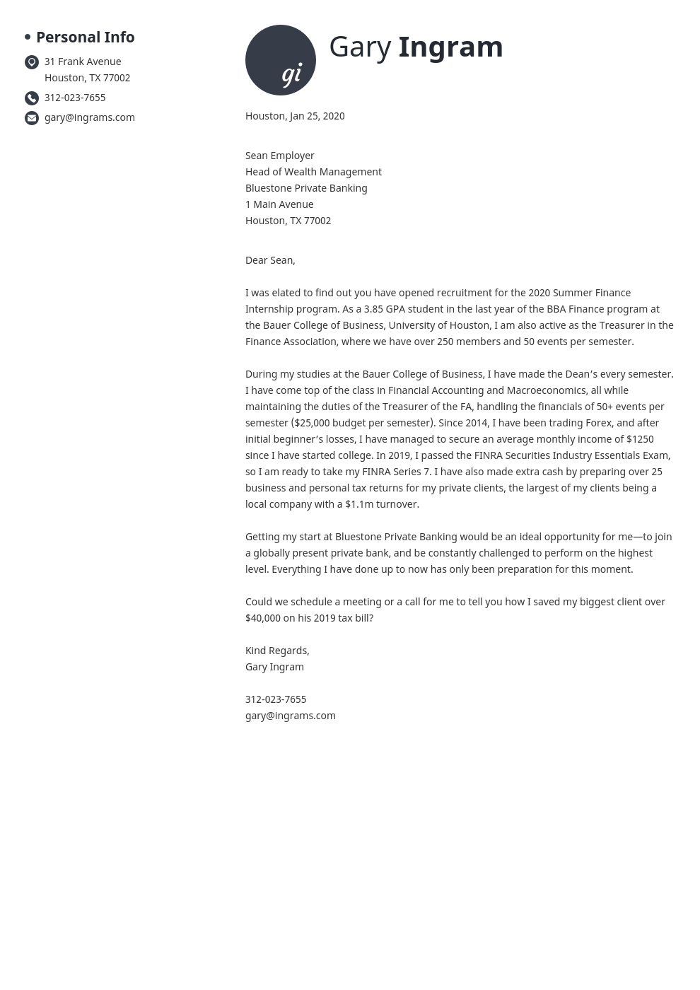 cover letter examples finance template initials