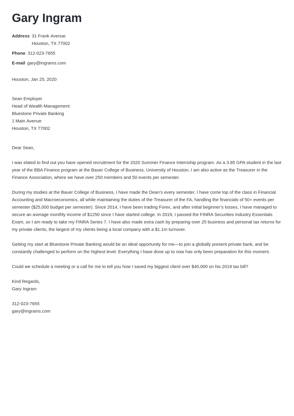Finance Cover Letter Examples For Finance Jobs And Internships 2021
