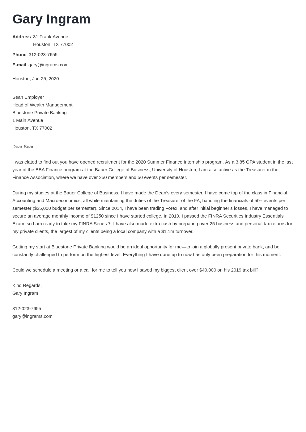 cover letter examples finance template valera