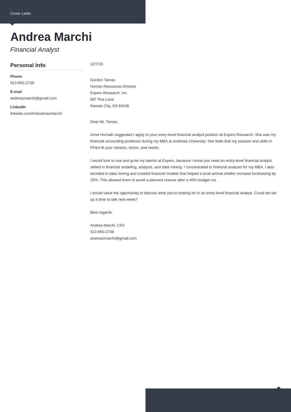 cover letter examples financial analyst template modern