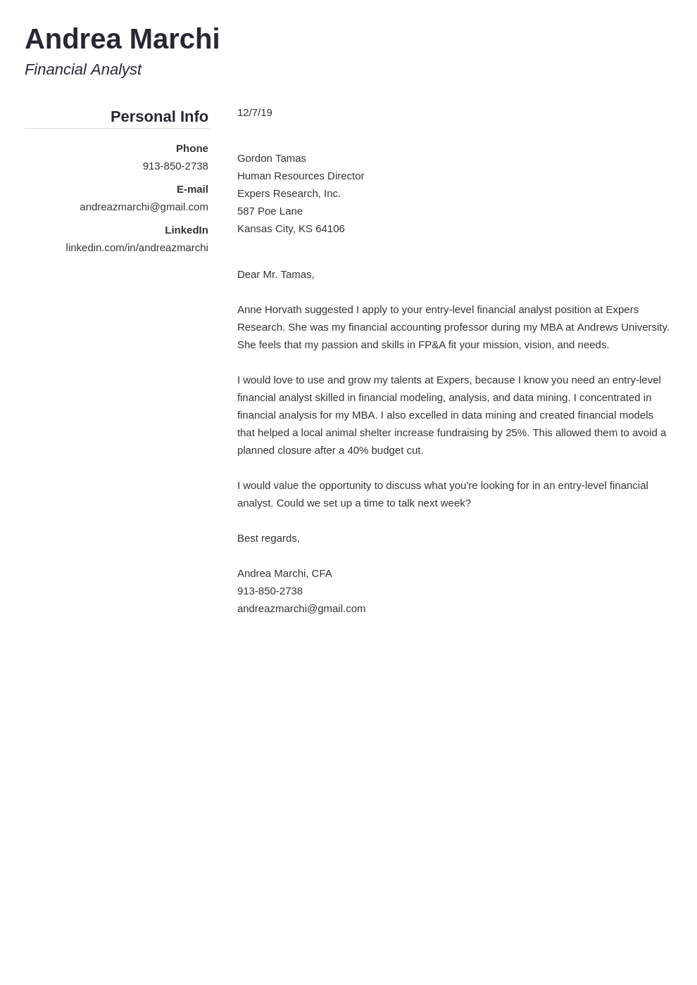 cover letter examples financial analyst template simple