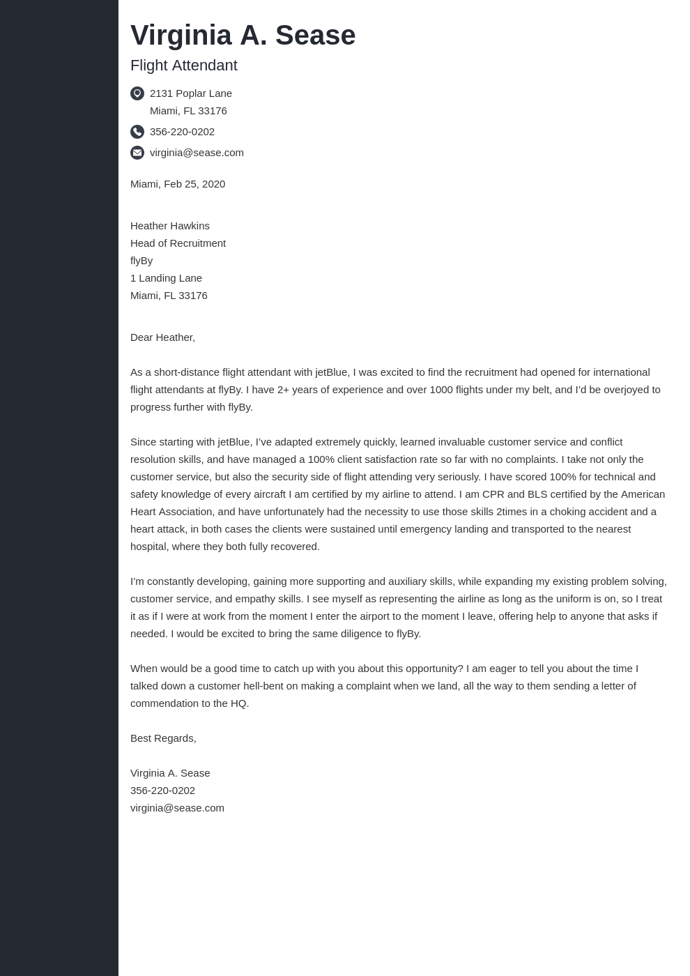 cover letter examples flight attendant template concept