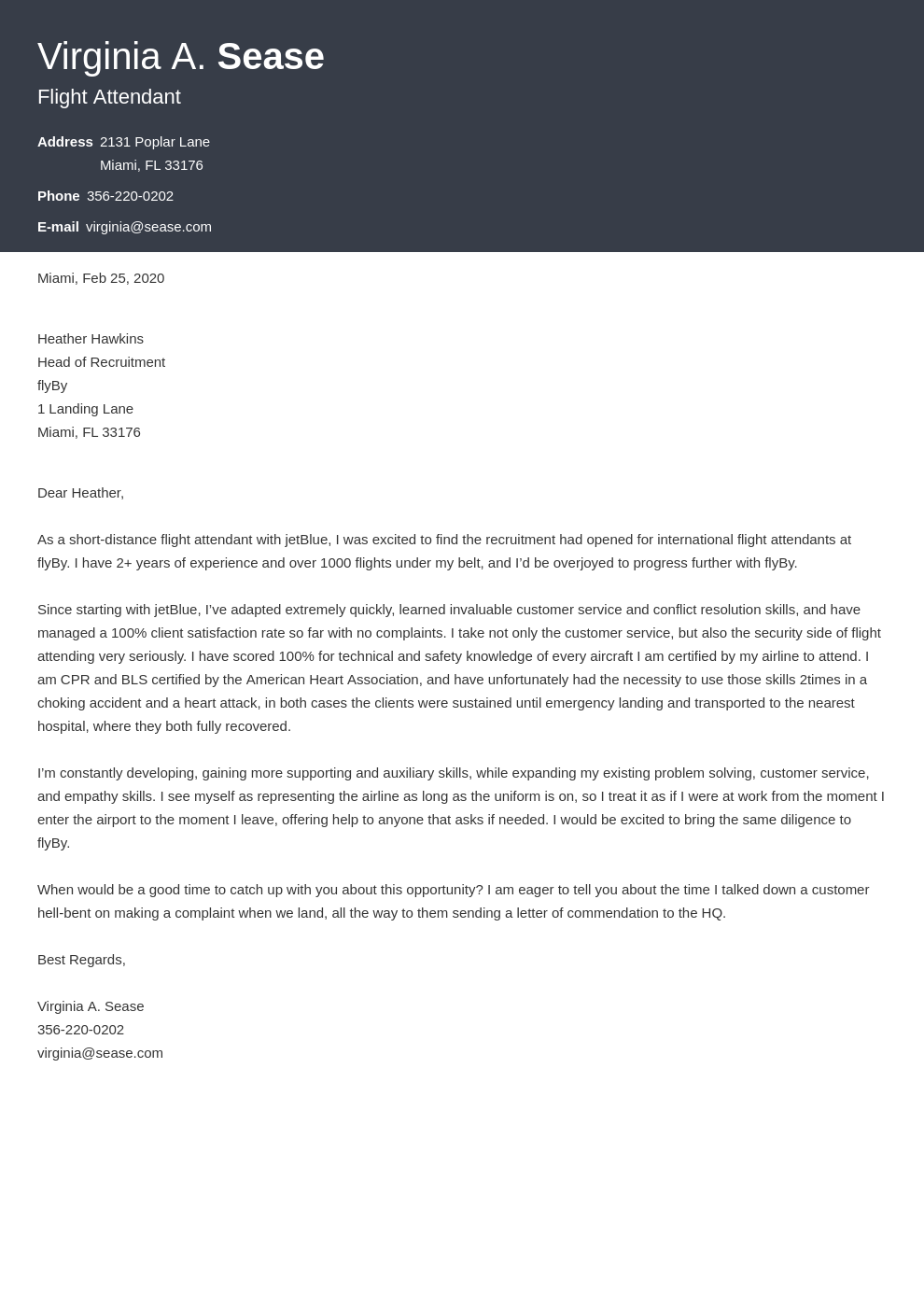 cover letter examples flight attendant template influx