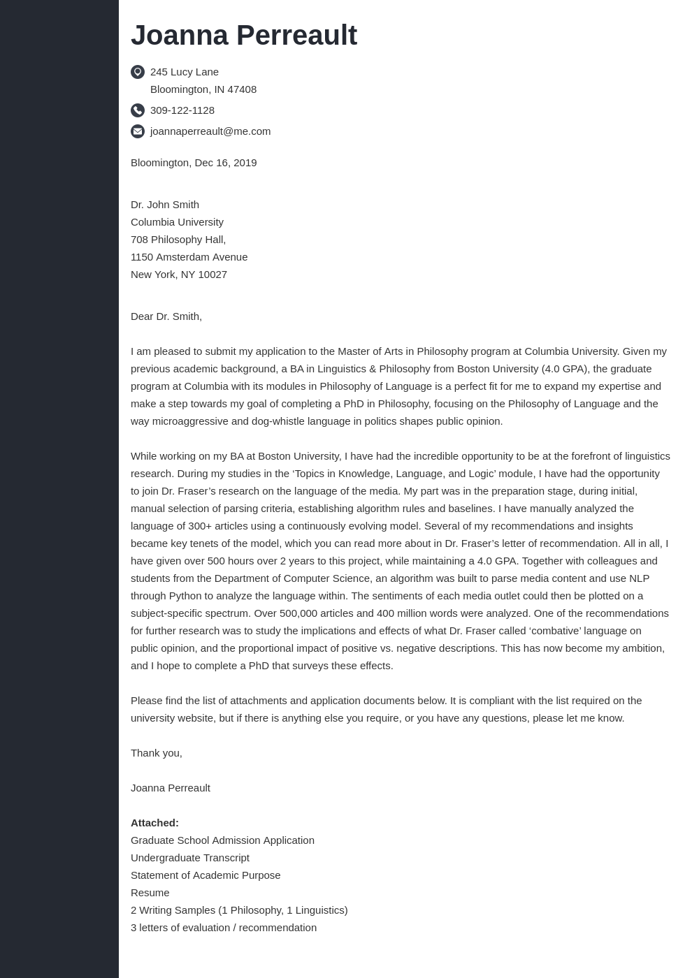 cover letter examples graduate school template concept uk