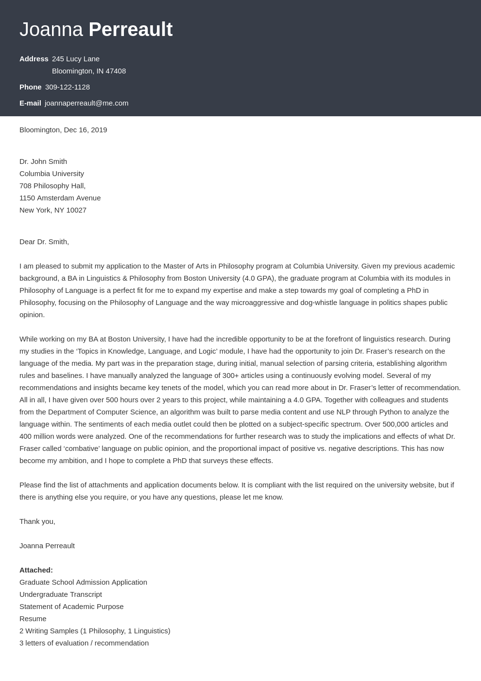 cover letter examples graduate school template influx