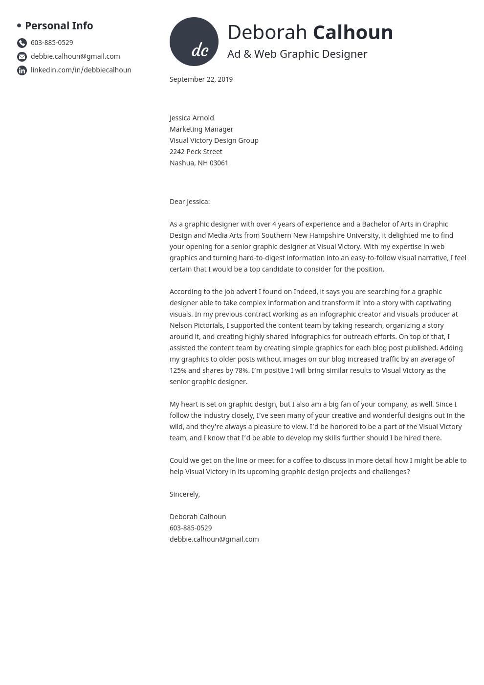 cover letter examples graphic design template initials