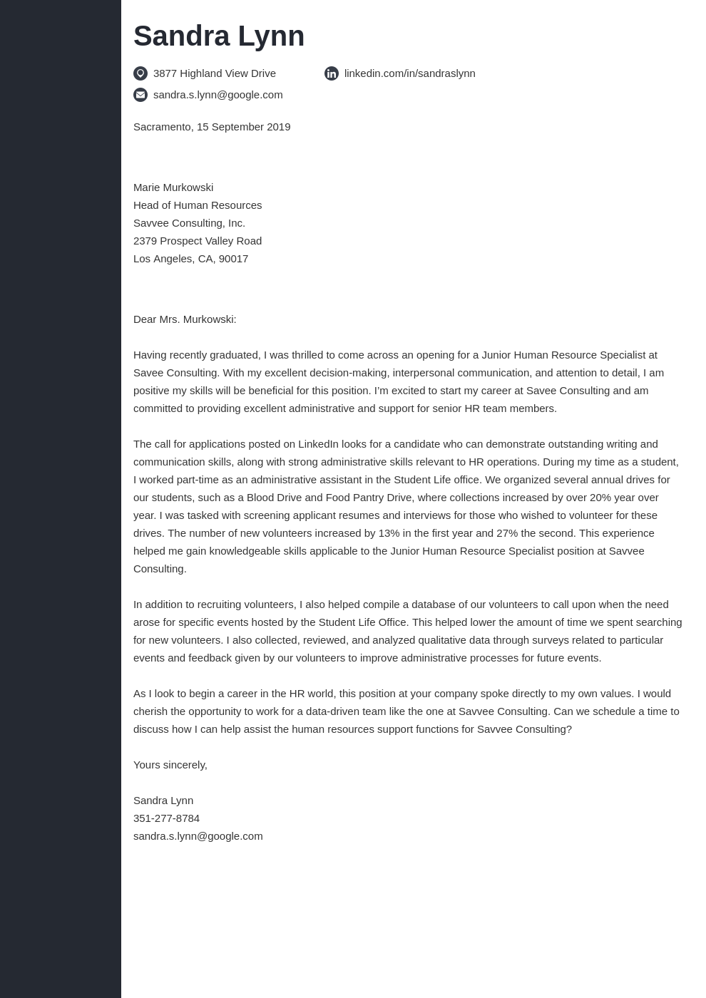 cover letter examples human resources template concept