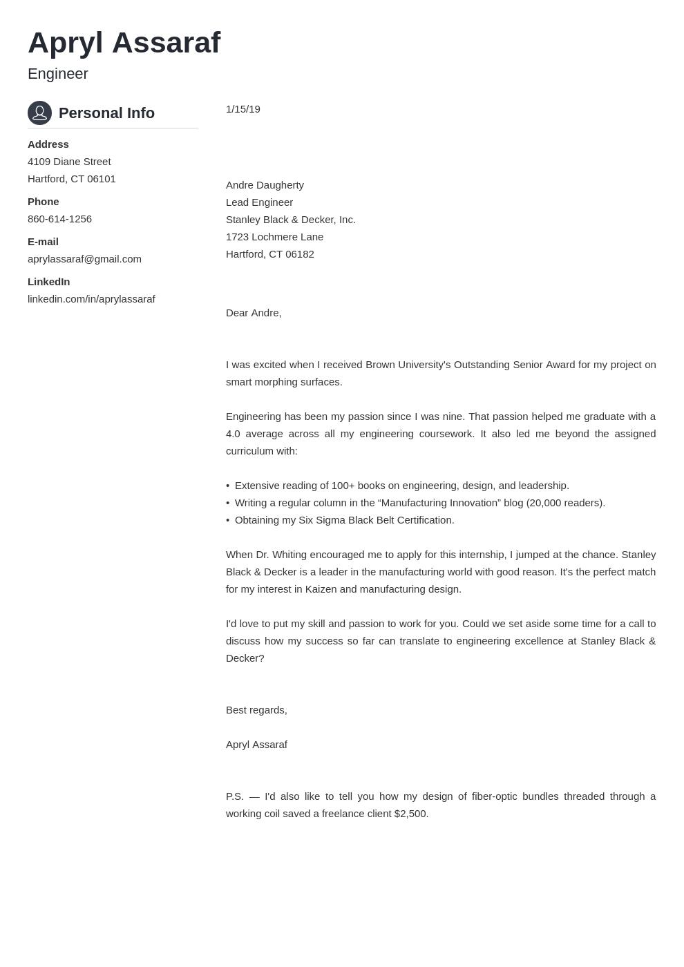 cover letter examples internship template crisp