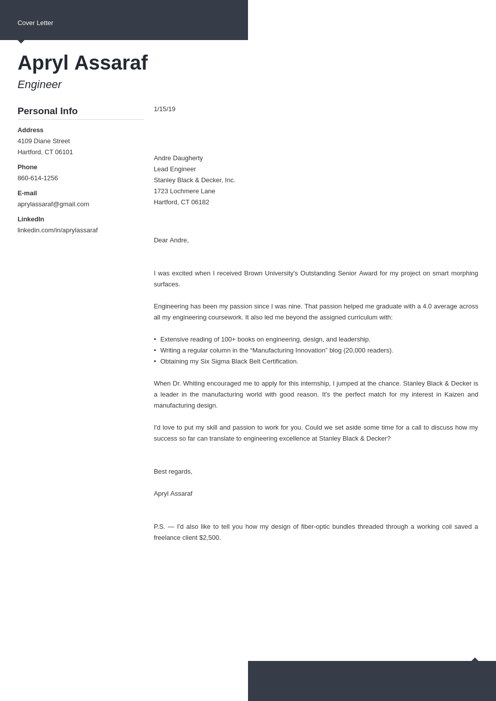 cover letter examples internship template modern
