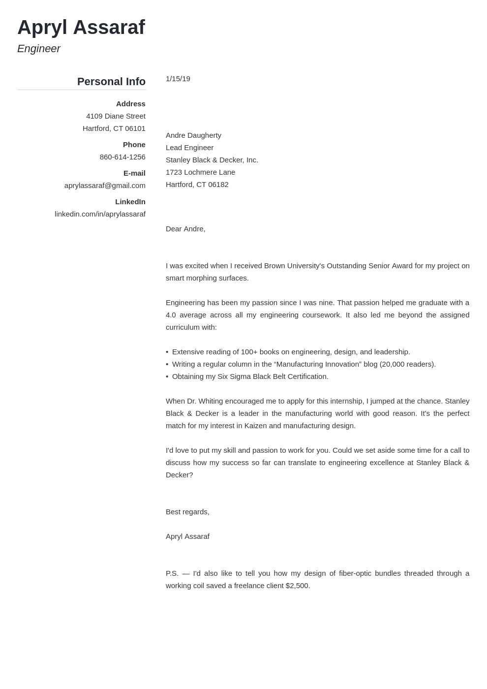 Resume Cover Letter For Internship Good Concept Popular