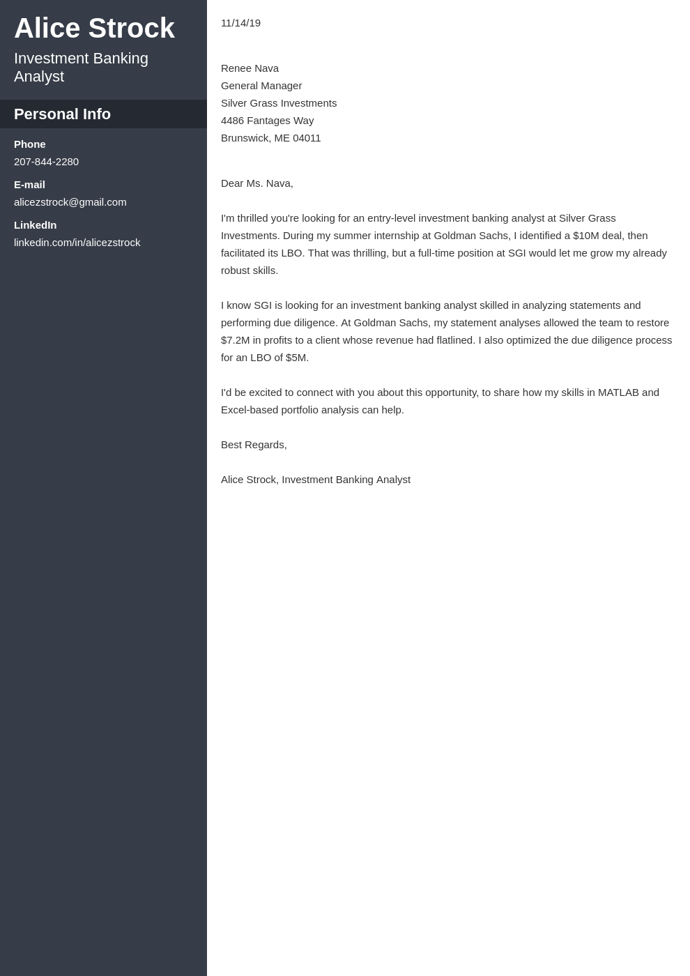 cover letter examples investment banking template cascade