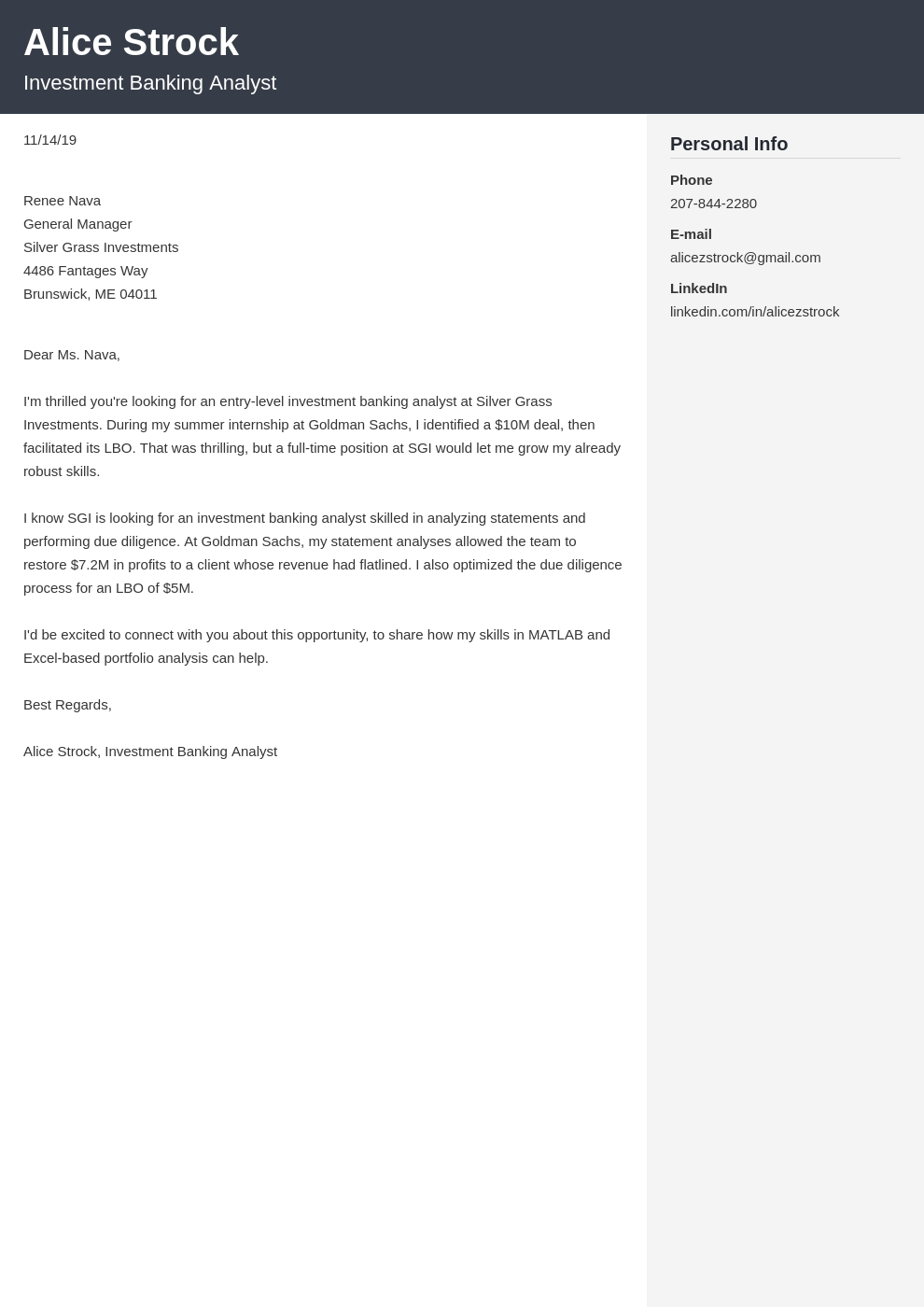 Investment Banking Cover Letter Examples Ready To Use Templates