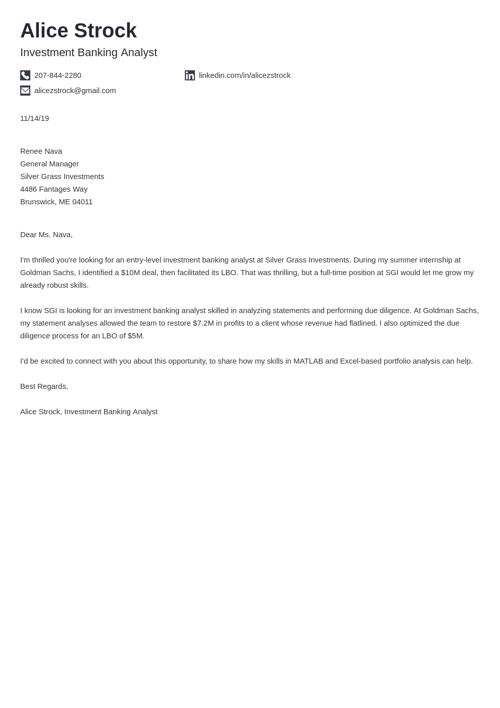 cover letter examples investment banking template iconic