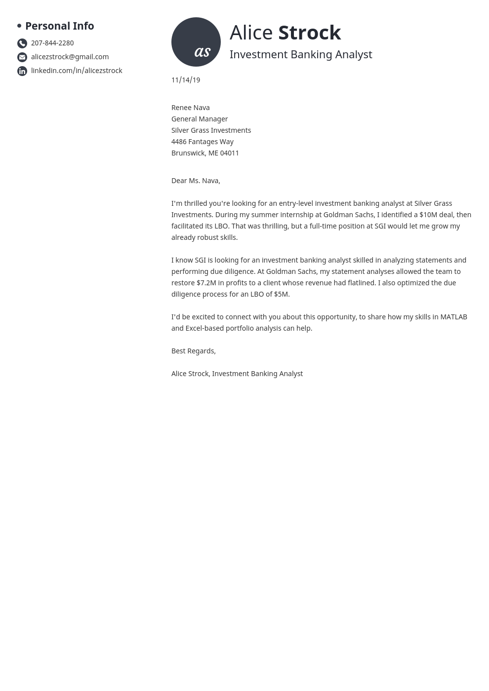 cover letter examples investment banking template initials