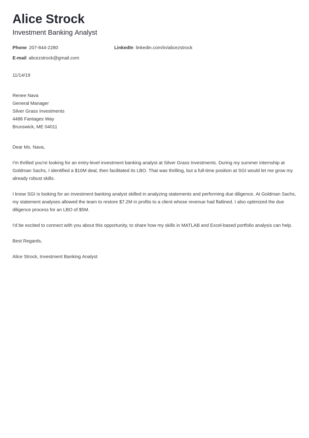 cover letter examples investment banking template minimo
