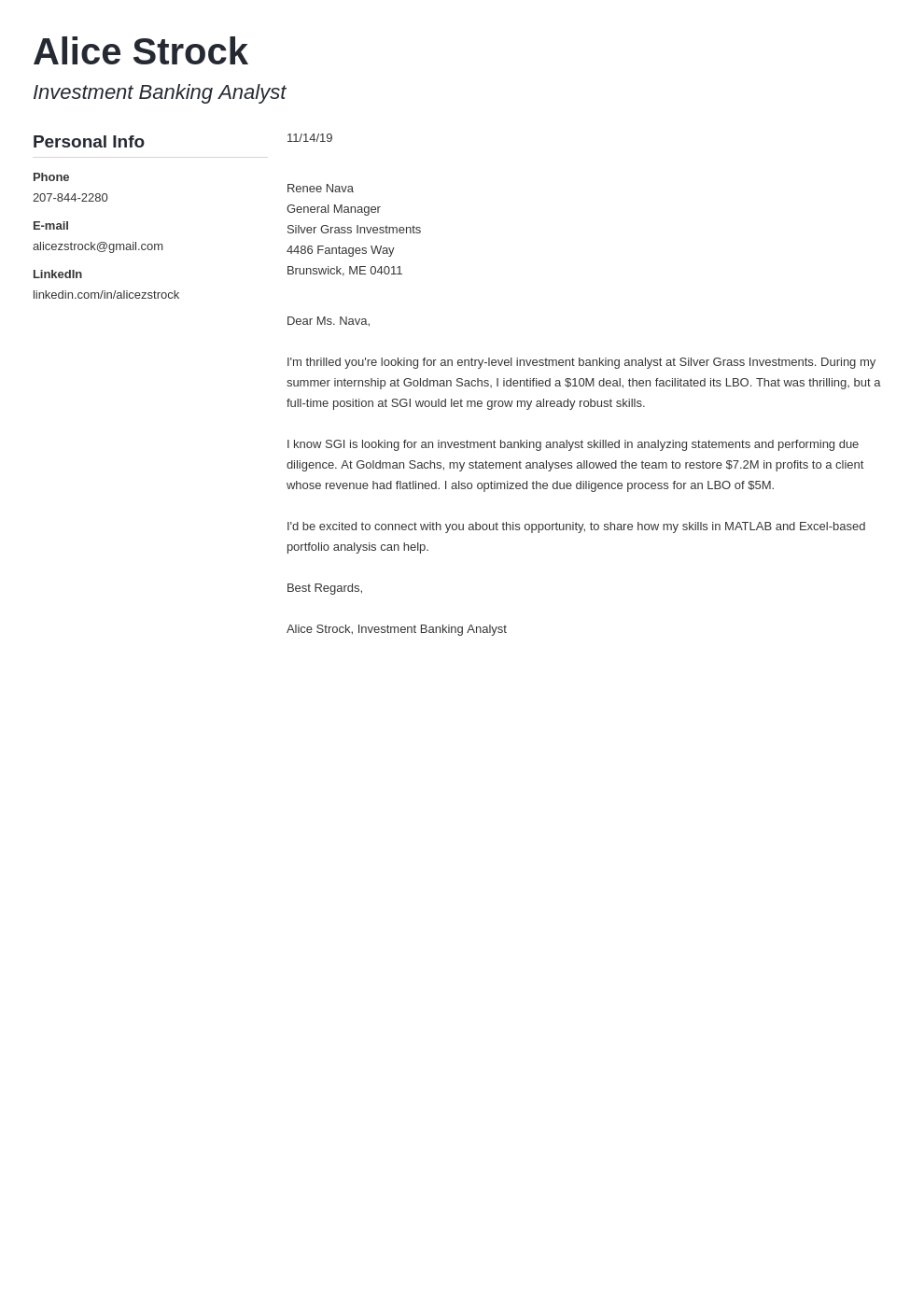 cover letter examples investment banking template muse