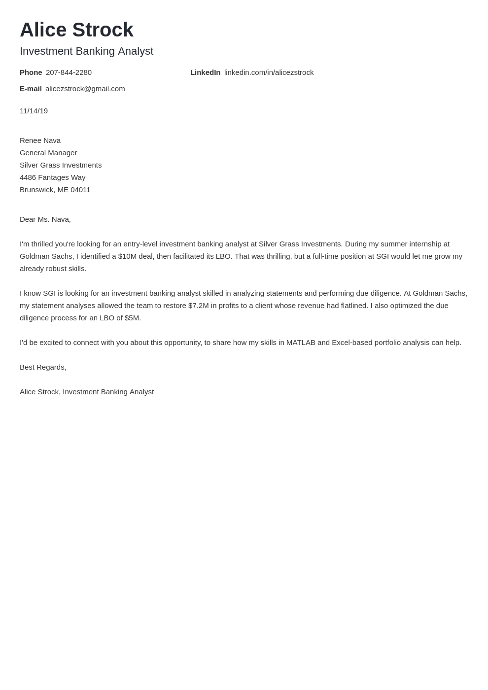 cover letter examples investment banking template nanica