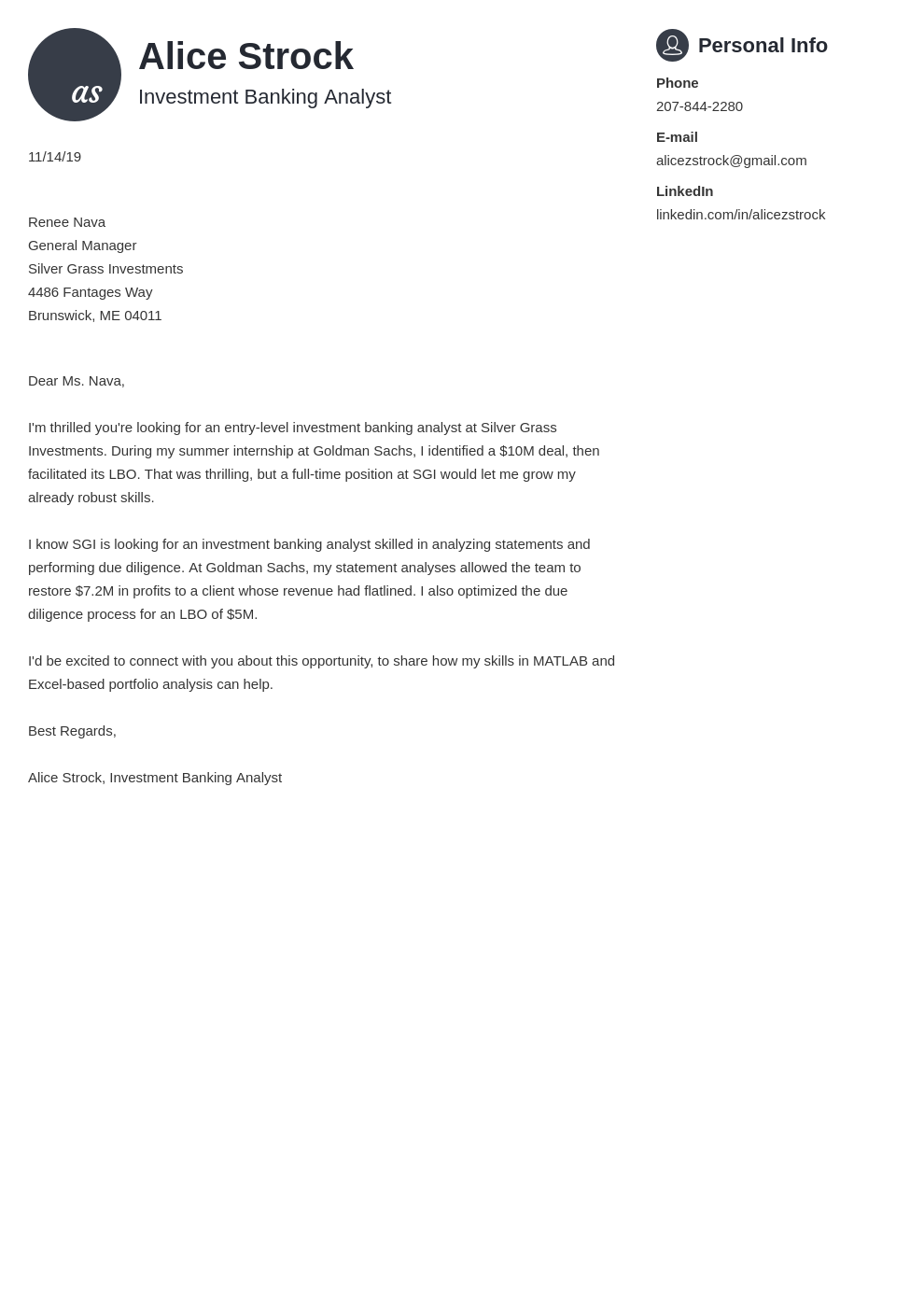 cover letter examples investment banking template primo