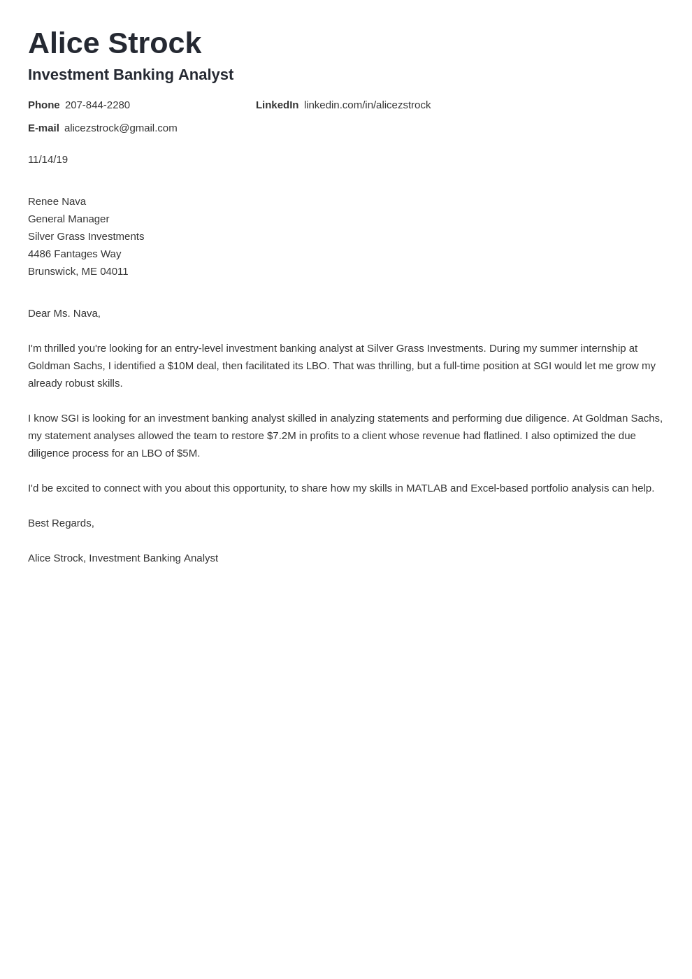 cover letter examples investment banking template valera