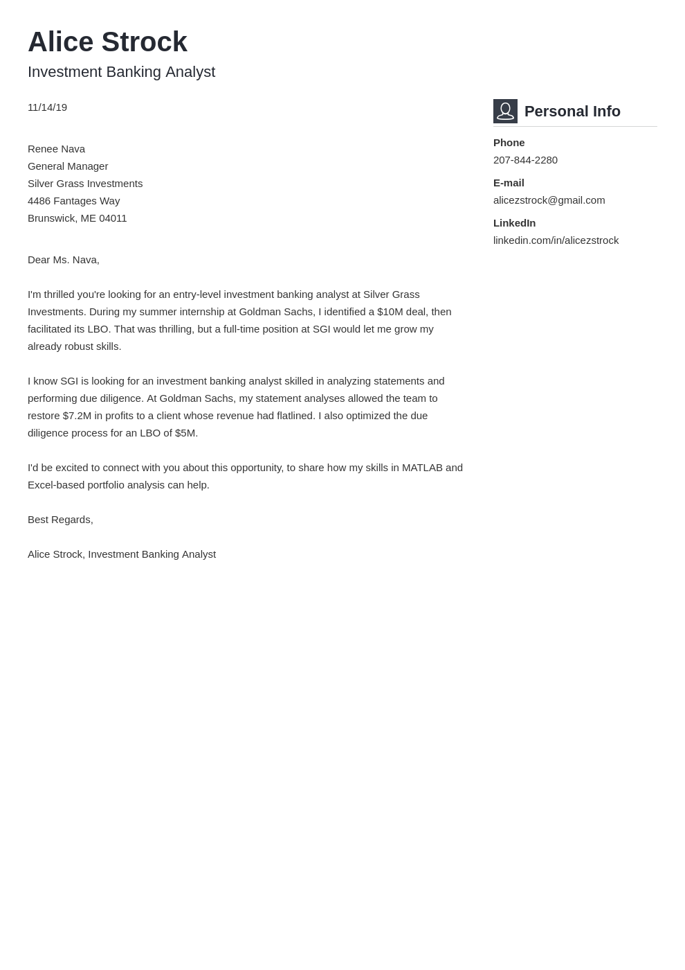 cover letter examples investment banking template vibes