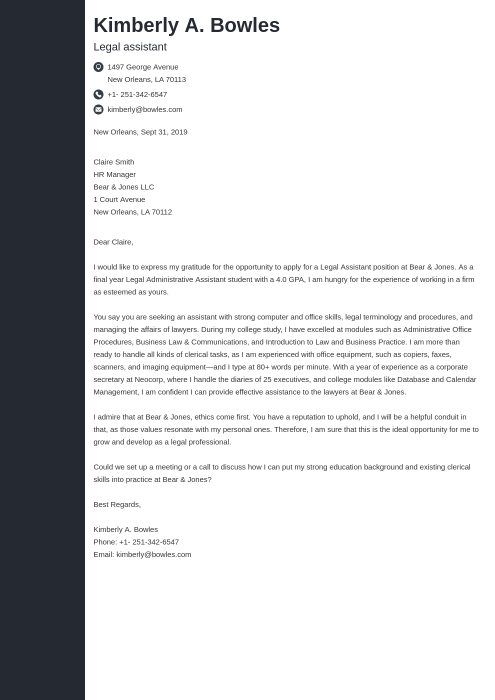 cover letter examples legal assistant template concept