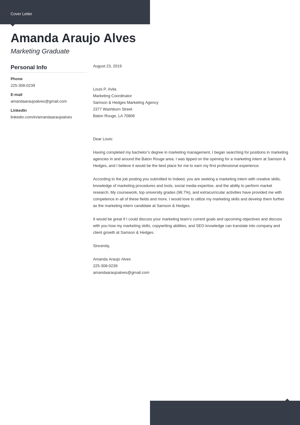 cover letter examples marketing template modern