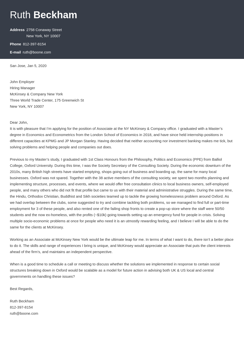 cover letter examples mckinsey template diamond