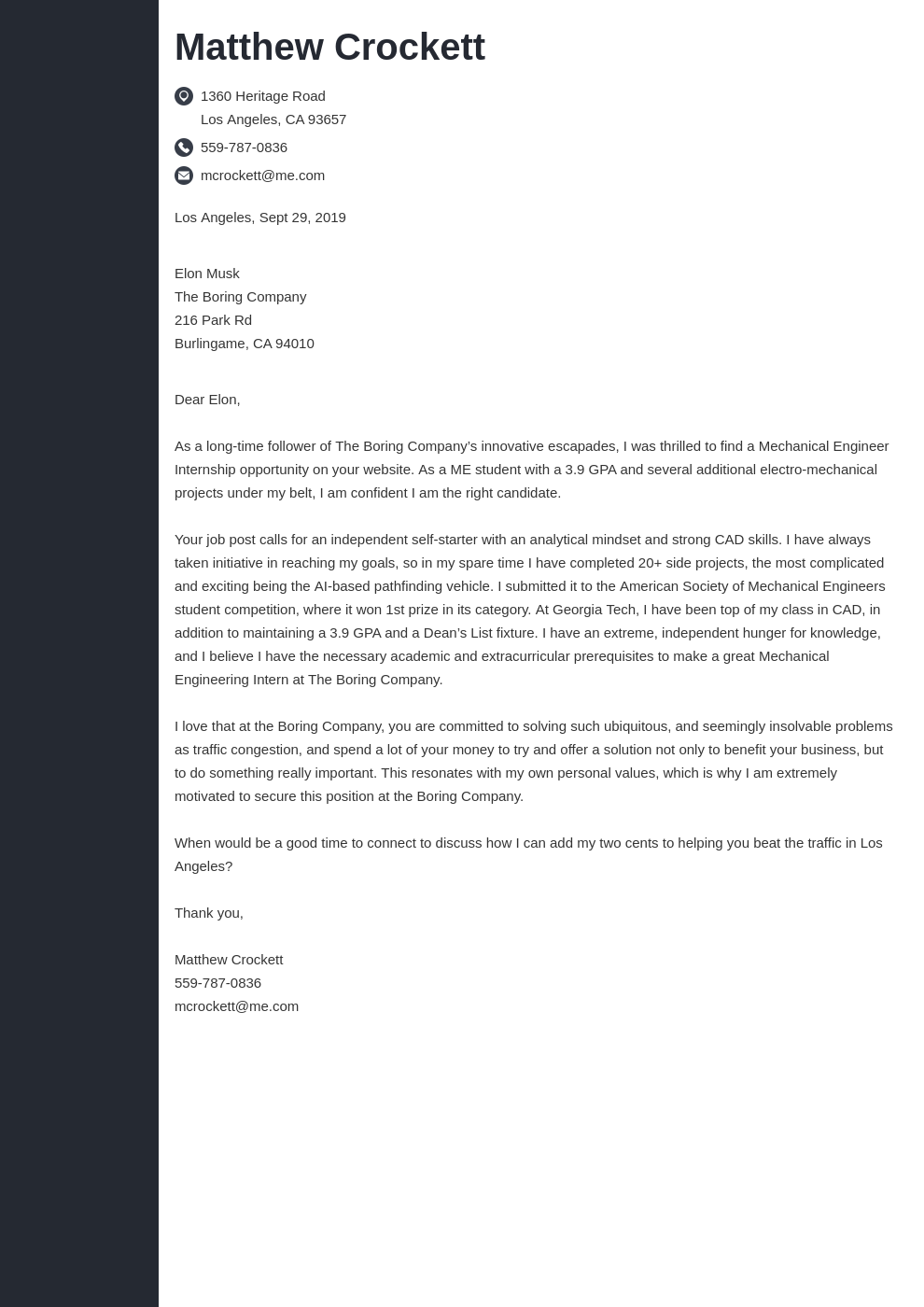 cover letter examples mechanical engineer template concept