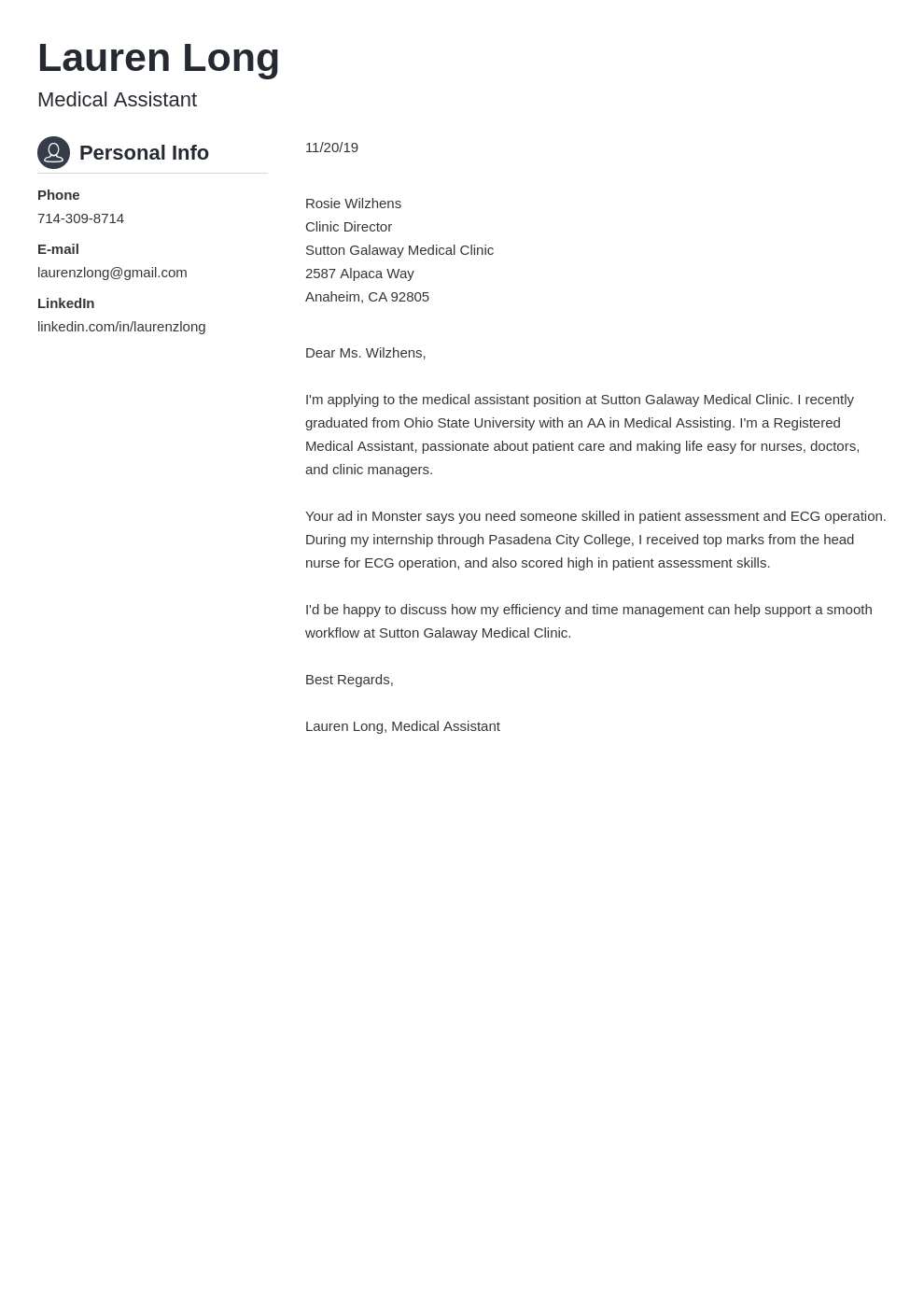 cover letter examples medical assistant template crisp