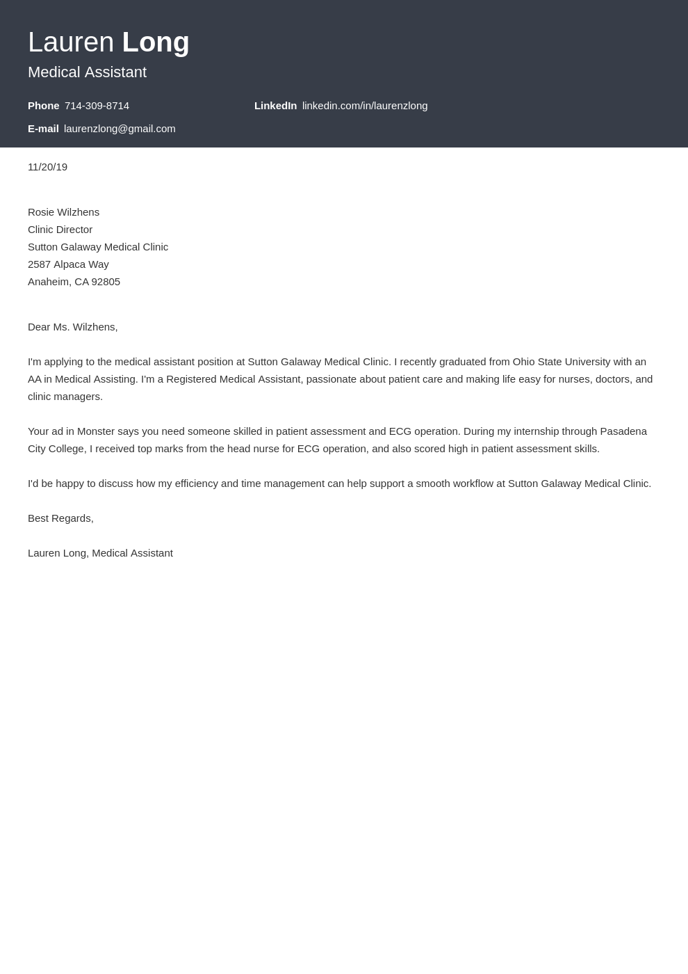 cover letter examples medical assistant template diamond