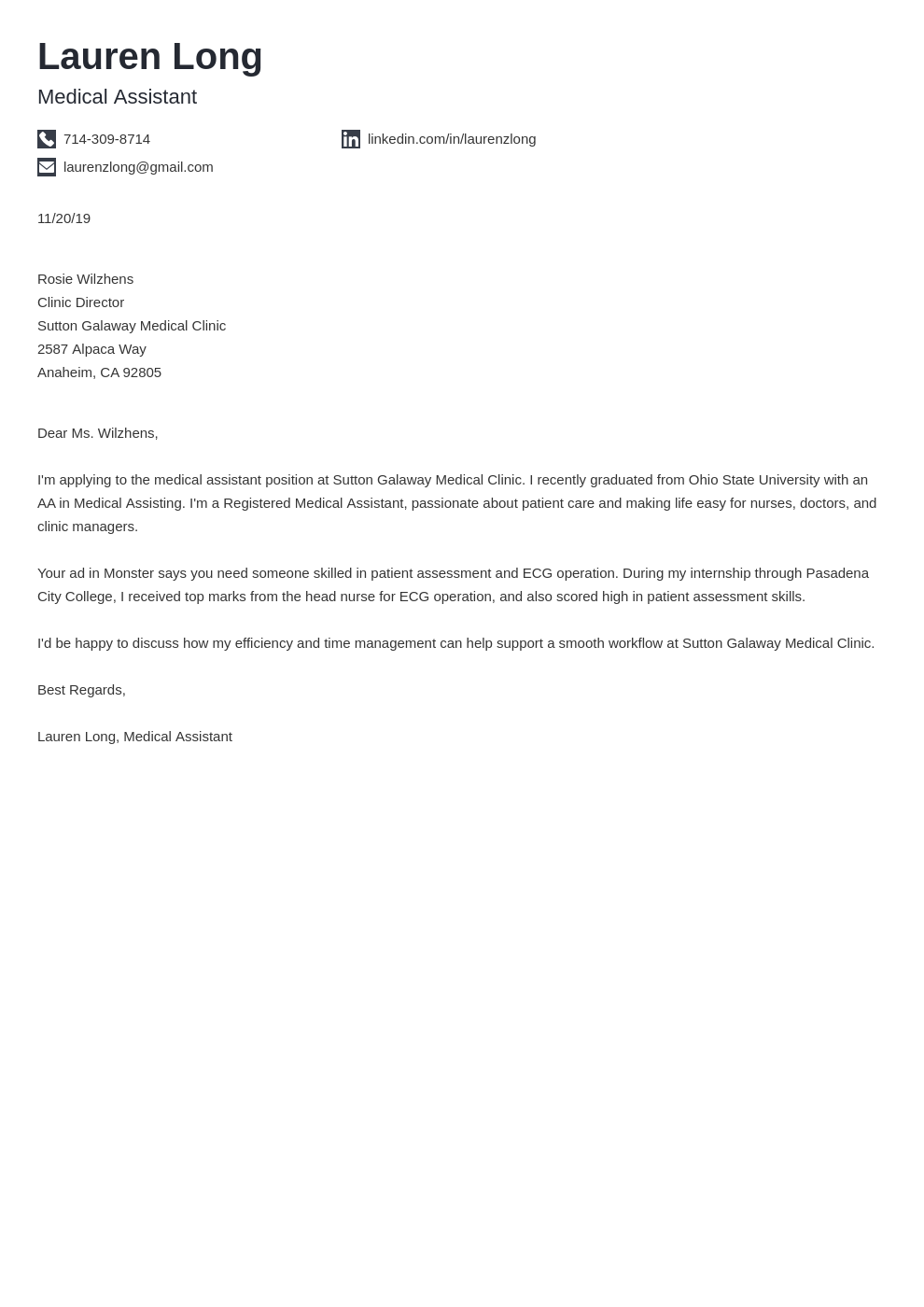 cover letter examples medical assistant template iconic