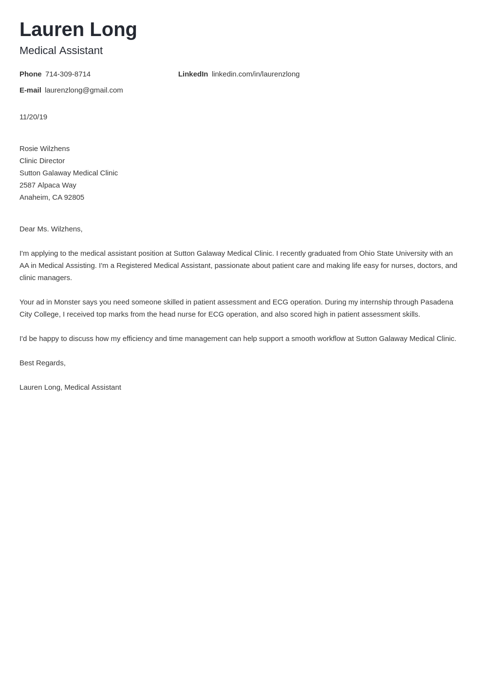 cover letter examples medical assistant template minimo