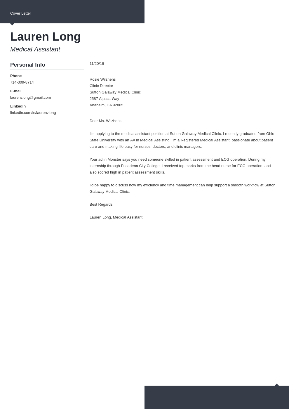 cover letter examples medical assistant template modern